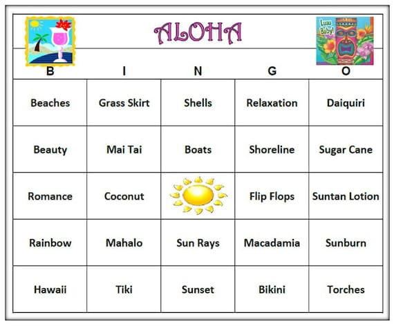Aloha Luau Hawaiian Party Bingo Game Hawaiian Bingo Words