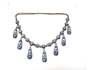 Vintage Persian Blue Enamel Festoon Dangle Necklace