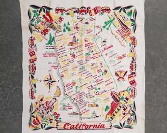 Map tablecloth etsy california state map tablecloth vintage linen 1950s kitchen fabric gumiabroncs Choice Image