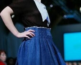 Re-rocked Pleated Denim Skirt M/L (sizes 6-10)