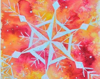 Snow Falls in Autumn; Watercolor Painting; 10x20