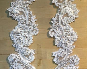 La silver and white crystal beaded lace applique pair