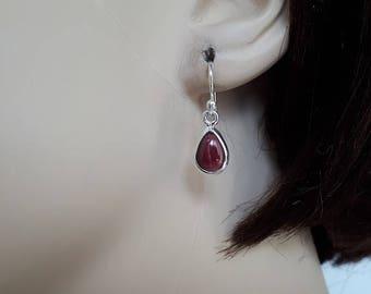 Silver garnet earrings, 92.5, sterling; teardrop shape