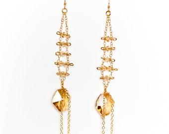 0069- Golden Shadow Swarovski Crystal Drops in 14kt gold filled