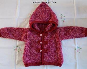 12 months pink marl hooded jacket