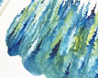 Silver Pines - Watercolor Art Print - pine trees, forest, evening, treeline, nature, north woods