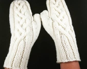 Cable knit mittens - knitted mittens - winter gloves - knitted winter mittens - cable mittens - cable knit gloves - cable gloves