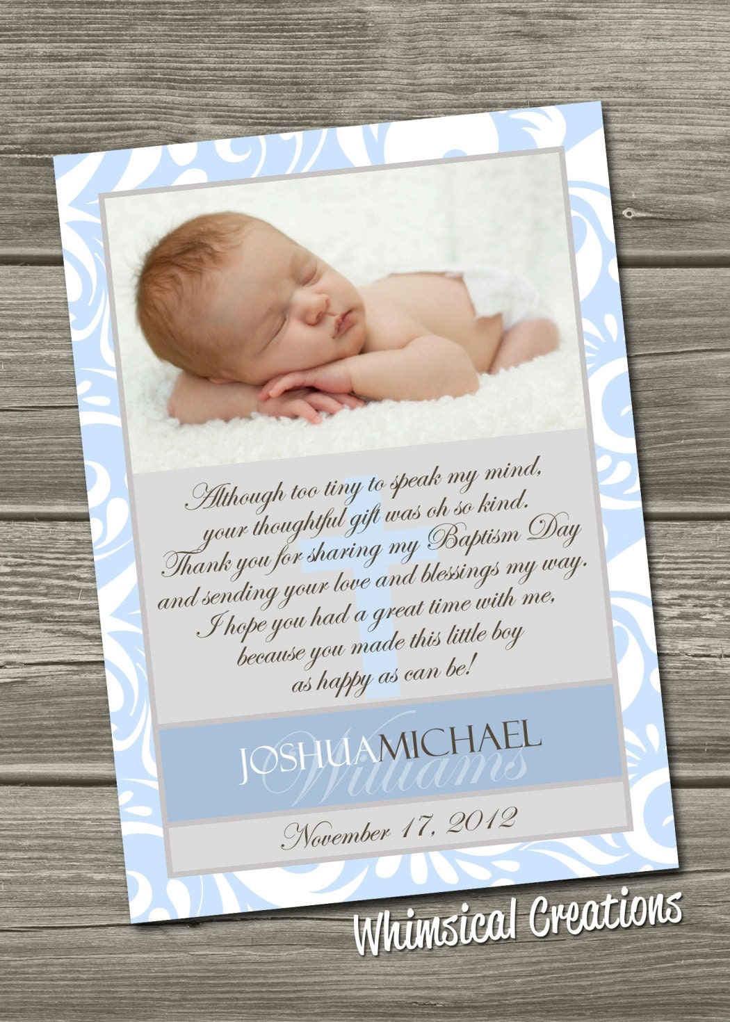Baptism Thank You Card Christening Thank You Card Digital