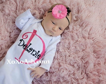 Initial Name Bodysuit Girl Curlz--newborn gift baby shower gift going home outfit--Embroidered shirt or Bodysuit
