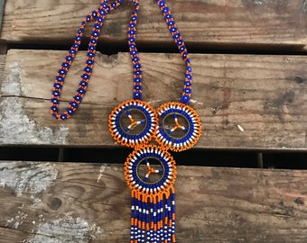 Native American Handmade Ornate Floral Beaded Necklace