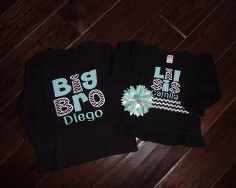 Big Brother Little Sister Shirt, Big Sister Little Brother Shirt, Personalized Big Little Brother Sister Shirt, Appliquéd Big Bro Shirt