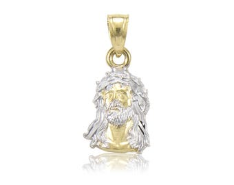 14K Solid Yellow White Gold Jesus Head Pendant - Face Necklace Charm