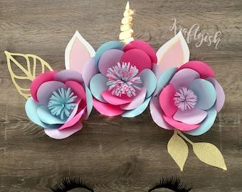 Unicorn Paper Flower Set Display - 3 flowers
