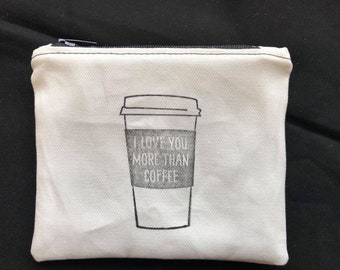Coffee Cosmetic Bag, flash drive case memory card holder, Gifts for Her, Gift Women, College Student Gift, Cosmetic bag, mom, Toiletry Bag