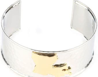 State of Louisiana Hammered Cuff Bracelet (Silver w/Gold)
