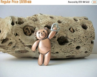 ON SALE Vintage Copper With Silver Tone Heart Teddy Pin 82516