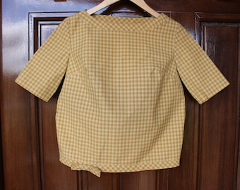 Vintage 1950s Patty Woodard California Plaid Mustard Yellow Top With Bow