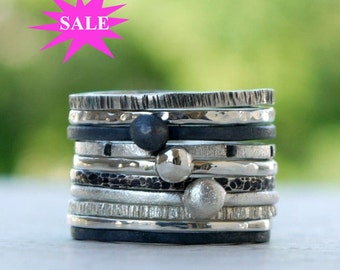 Silver stacking rings,  stackable rings, stacking ring set, sterling silver ring set of 7, hammered rings - Pick any 7 - SALES 15%OFF