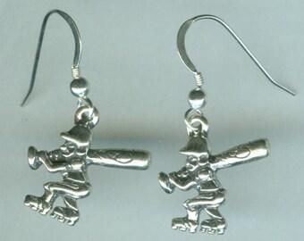 Sterling Silver BASEBALL PLAYER Earrings - Sports