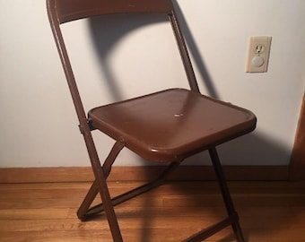 Vintage Mid Century Metal Brown Folding Chair