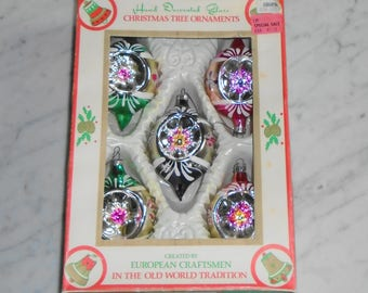 5 Vintage Glass Christmas Ornaments ~ Hand Painted Glitter Concave in Box