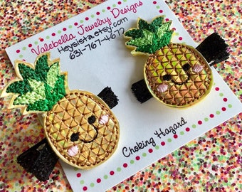 Hair clip Handmade Golden Pineapple with glitter hairclip summer fruit gift topper ONE CLIP gold kawaii girls kids shiny Holographic clip