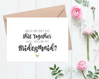 Will You Be My Bridesmaid Card | Personalized Maid Of Honor Gift | Set Of 2 - 60B77