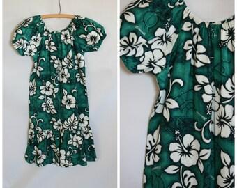 Girls Vintage Hawaiian Dress / 1980s Hawaii Dress / Hibiscus Ruffle Dress / Girls Vacation Dress / Big Girls  Green Hawaii Dress 6/8
