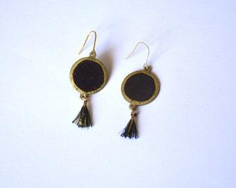 Earrings, multicolour enamel on copper