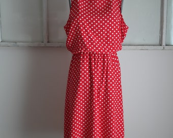 Vintage 1980s CW Dresses Red with White Polkadots Dress