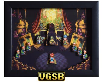Chrono Trigger Art - Courtroom - SNES - Super Nintendo - 3D Shadow Box Glass Frame - 12x10 - Birthday Gift - Game Room Wall Art