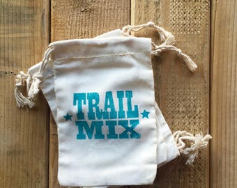 Hand Stamped Trail Mix Bags, 5 x 7 Fabric bag with Cord Tie - Outdoor Hiking, Party Favor Bags