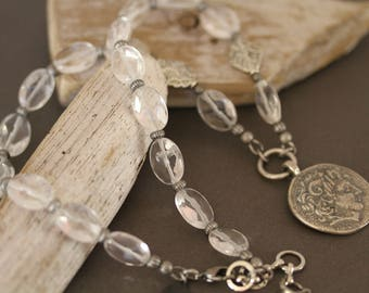 Antiqued Silver Coin Pendant Gemstone Necklace, Clear Quartz Necklace, Vintage Inspired, Antiqued Coin Pendant Necklace