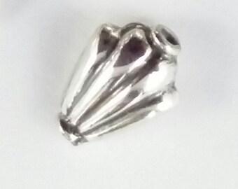 6 x Fan / Tulip Shaped Bali Sterling Silver Beads, 8mm Beads, Silver Tulips, 8mm Feature Beads, Focal Beads, 925 Silver Supplies S195