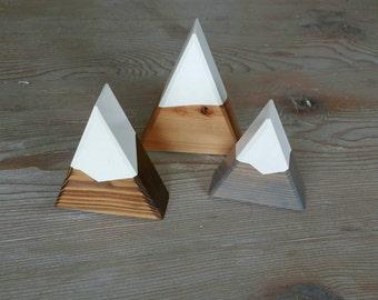 Snow Capped Mountain Trio: Mini Peaks Trio - Natural, Walnut + Gray Snow Capped Mountains