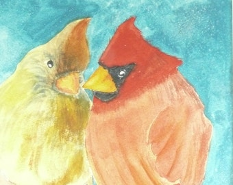 Original Painting, Two Red Cardinals, Male Female Birds, Nature Decor, Cabin Decor, Red Birds, Contemporary Modern Fine Art, Love Birds