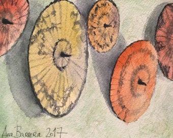 Original Watercolor Burmese Parasols