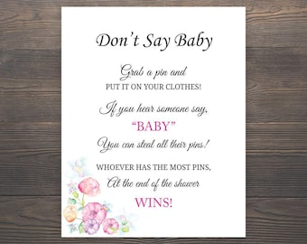 Don't Say Baby, Baby Shower Games, Printable Baby Shower, Girl Baby Shower Games, Grab a pin game, Clothespin game, Pink Baby Shower, S015