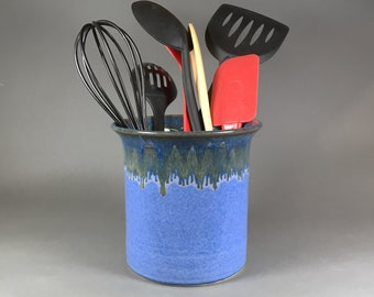 Light Indigo, Utensil Holder, Kitchen Crock, Kitchen Organizer, Spoon Holder