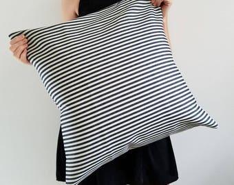 Denim Pillow - Denim Pillow - Home Decor - Blue Pillow - Hygge - Blue Railroad Stripe