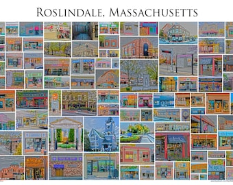 "Roslindale Massachusetts - A Framed 13x19"" Photographic Collage of Roslindale Village Store Fronts and Landmarks"