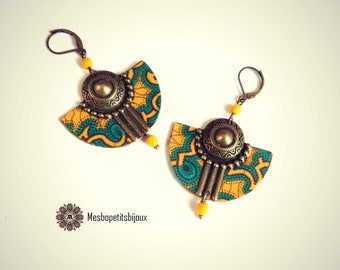 Colorful earrings, inspired blue yellow African fabric