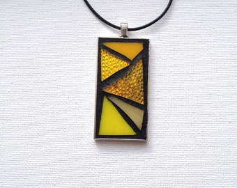 Yellow Glass Pendant, Modern Bold Jewelry, Stained Glass Necklace, Mosaic Wearable Art, Yellow Triangle Accessory, Glass Geometric Pendant
