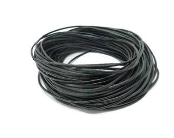 Black Leather Cord - 1.5mm diameter - You pick length - Round - Unfinished - Bulk - DIY - sold by the meter - 1m 2m 3m 5m 10m 20m