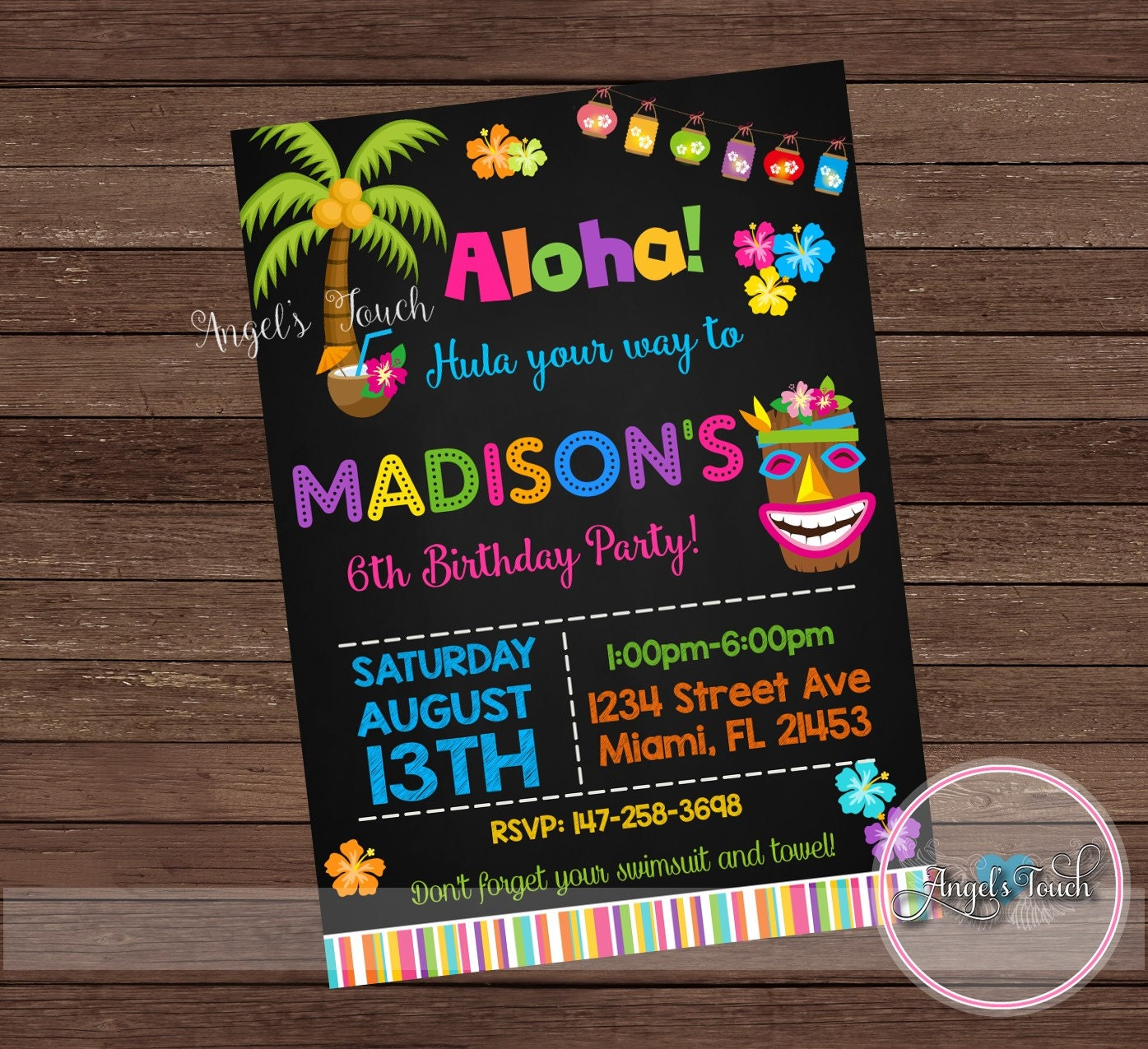 Luau Party Invitation Luau Birthday Invitation Chalk Luau Birthday