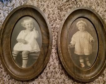 Pair of Antique/Vintage Photos of Children in Oval Wood Grain Metal Frames