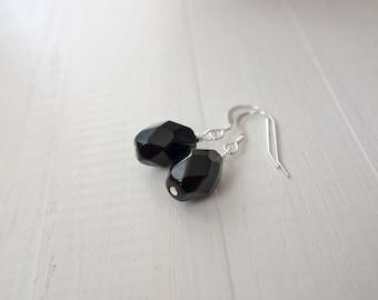 Black earrings minimalist earrings large bead earrings dangle earrings black bead earrings for women