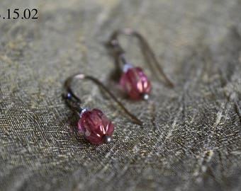Rose Czech Glass Cathedrals with Swarovski Accent