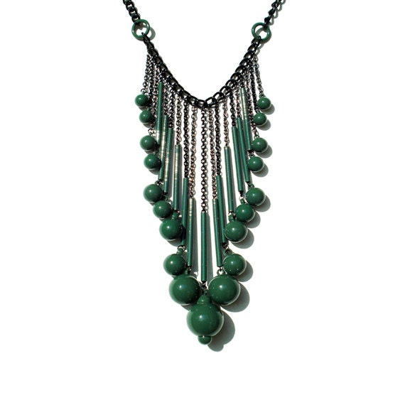 Bubble Drop Statement Necklace - Green