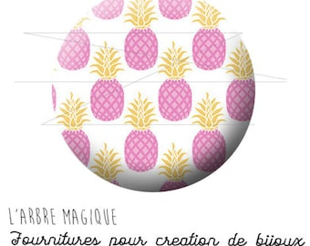 2 cabochons glue pineapple tropical fruit pink ref 1751 - 18 mm